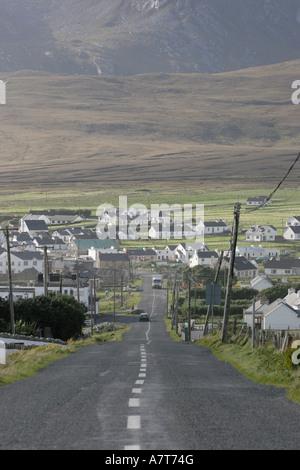 Vehicles on country road, Achill Island, County Mayo, Republic of Ireland - Stock Photo