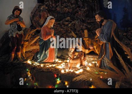 Nativity scene in The church of Toconao village Chile - Stock Photo