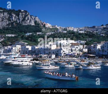 Boats moored at harbor Marina Grande Campania Italy - Stock Photo