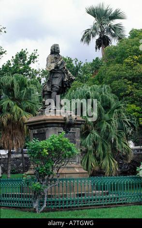 Mahe de la bourdonnais statue in park, St-Denis, Reunion Island, France - Stock Photo
