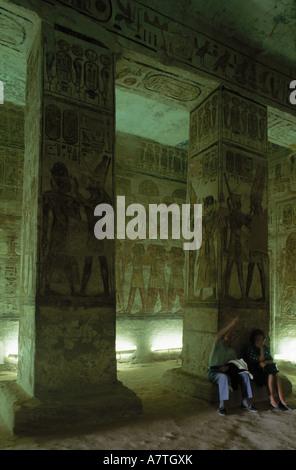 Two people in temple Great Temple of Ramesses II Abu SImbel Aswan Egypt - Stock Photo