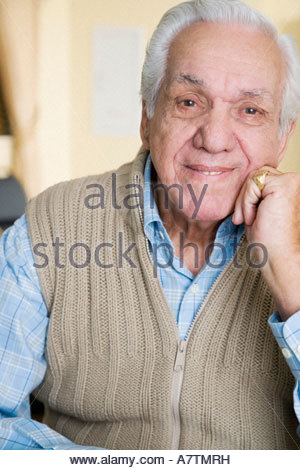 Portrait of an elderly man in  a retirement home - Stock Photo