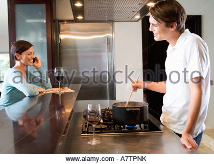 A young couple at home - Stock Photo