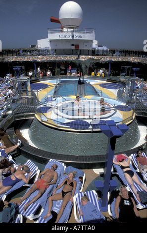 Sun pool and spa aboard Carnival Spirit cruise ship. - Stock Photo