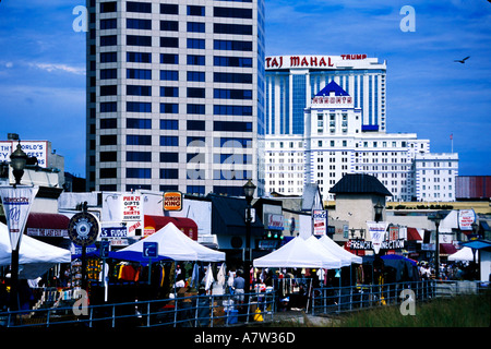 Hotels and Casinos on the Boardwalk in Atlantic City New Jersey - Stock Photo