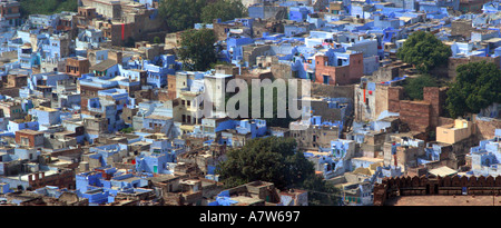 Jodhpur Blue City Panoramic view of Old Houses from Mehrangarh Fort Rajasthan India - Stock Photo