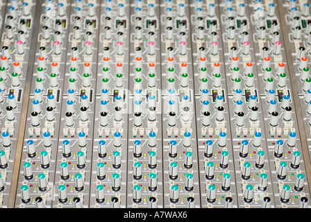 Close up of music sound recording studio mixing console desk 48 fourty eight track SSL digital board - Stock Photo