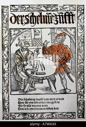 Murner, Thomas, 24.12.1475 - before 23.8.1537, German clergyman, humanist and author/writer, works, 'Der Schelmen - Stock Photo