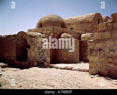 geography / travel, Jordan, 'Quasr Amra' Fortress, ruin,  hunting lodge, Walid I., 670 - 715, view omayyad, caliphate, - Stock Photo