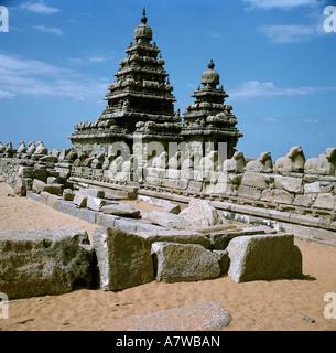geography / travel, India, Tamilnadu, Mahabalipuram (Mamallapuram), Shore Temple, Nandi, sculptures, Pallava, dynasty, - Stock Photo