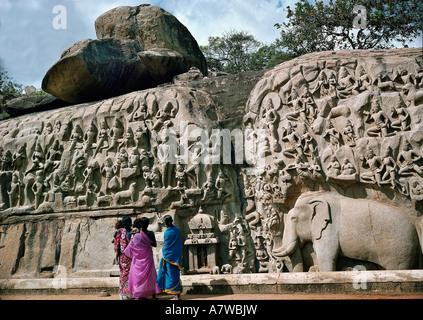 'geography / travel, India, Mahabalipuram (Mamallapuram), temple area, Palava dynasty, 7th century, middle granite - Stock Photo