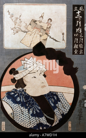 fine arts, Hiroshige Utagawa (1797 - 1858), Surimono (congratulation sheet), portrait of a actor, coloured woodcut, - Stock Photo