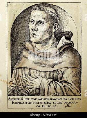 Luther, Martin, 10.11.1483 - 18.2.1546, German reformer, portrait, woodcut by Lucas Cranach the Elder, 1520, Museum - Stock Photo