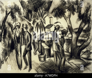fine arts, Macke, August (1887 - 1914), 'Spaziergänger im Park', charcoal drawing, 1913, 31x39 cm, Franz Marc Museum, Kochel am See, , Artist's Copyright has not to be cleared