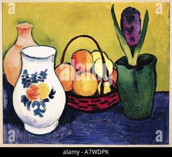 fine arts, Macke, August (1887 - 1914), 'Weisser Krug mit Blumen und Früchten', painting, Tegernsee, 1910, oil on - Stock Photo