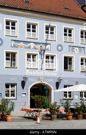 Town square Ludwigstrasse Neuoetting Upper Bavaria Germany - Stock Photo