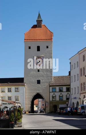 Town square Ludwigstrasse Unteres Tor Neuoetting Upper Bavaria Germany - Stock Photo