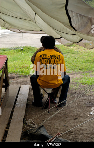 Indonesia Sumatra Banda Aceh Post Tsunami Scientology therapy for tsunami victims - Stock Photo