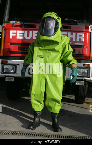 Firefighter with an protective clothing - Stock Photo
