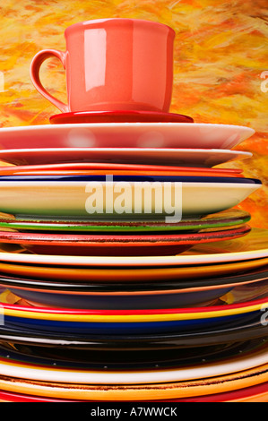stack of colourful plates stock photo royalty free image. Black Bedroom Furniture Sets. Home Design Ideas