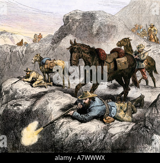 Dutch Boer marksmen in battle against the British in the Transvaal War 1881 South Africa. Hand-colored woodcut - Stock Photo