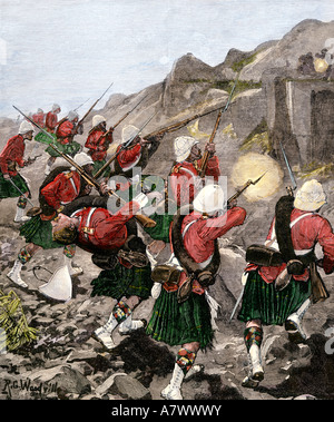 British 92nd Highlanders skirmish with Dutch Boers in the Transvaal War South Africa 1881. Hand-colored woodcut - Stock Photo