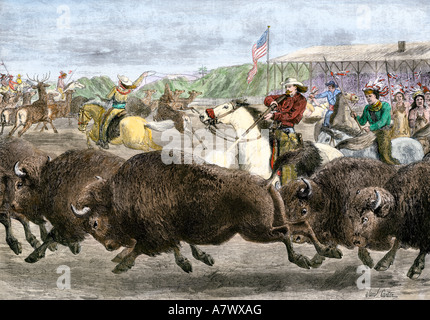 Buffalo Bill Cody and his Wild West Show hunting bison and elk 1880s. Hand-colored woodcut - Stock Photo