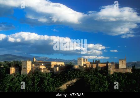 Alhambra Moorish fortress in evening sun Granada Andalucia Spain Europe EU - Stock Photo
