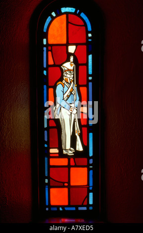Soldier from revolutionary war on stained glass window. Ft Snelling State Park Minnesota USA