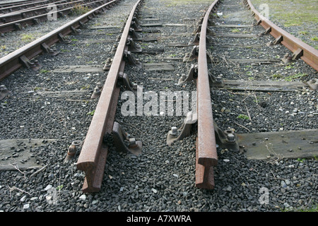 railway track at the Foyle Valley Railway NWIRS Derry Northern Ireland - Stock Photo