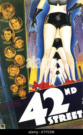 42ND STREET poster for 1933 Warner film musical with Ruby Keeler and Bebe Daniels - Stock Photo