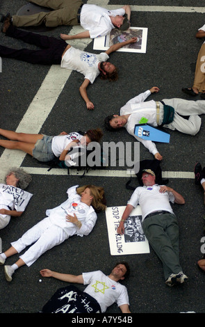Demonstrators from the War Resisters League perform civil disobedience  - Stock Photo