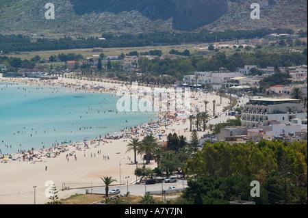 Italy, Sicily, San Vito Lo Capo, Town Beach - Stock Photo