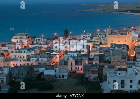 Italy, Sicily, SAN VITO LO CAPO, Resort Town View / Evening - Stock Photo