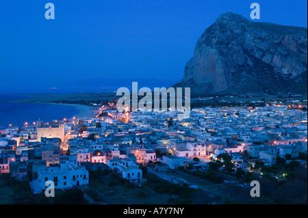 Italy, Sicily, SAN VITO LO CAPO, Resort Town View & Monte Monaco - Stock Photo