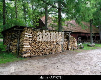 Chopped fire wood Hjerl Hede open air museum Sevel jutland Denmark - Stock Photo