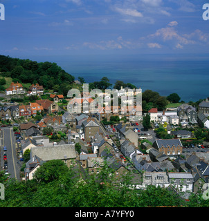 Bird's eye view looking down from Station Road onto red roofs of Lynton Town Centre in North Devon England - Stock Photo