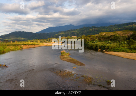River Rio Tarcoles and background of hills of Carara National park near Tarcoles Republic of Costa Rica Central - Stock Photo