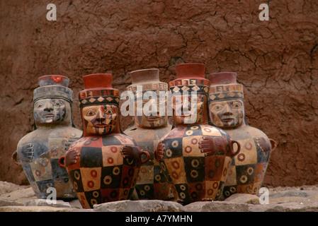 Face neck jars, Empires of the Sun, Peru, Wari, Huari, National Museum of Peru - Stock Photo