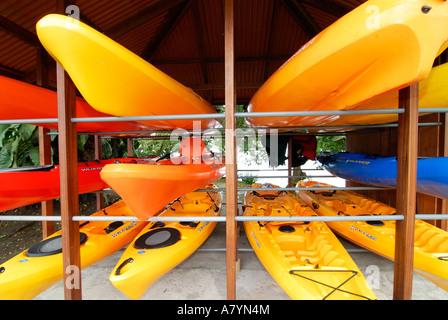 Costa Rica, Kayaks on rack - Stock Photo