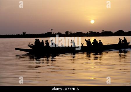 Senegal, Sine Saloum region, fishermen on the Saloum river - Stock Photo