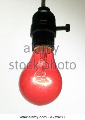 lightbulbs bare. Hanging Bare Red Light Bulb In Socket - Stock Photo Lightbulbs U