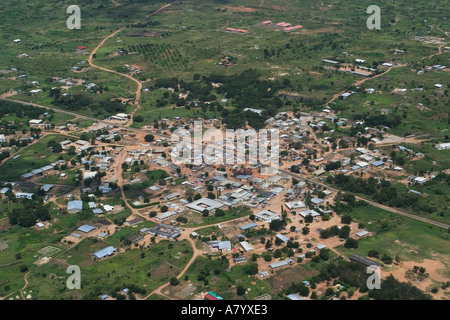 Aerial view of well to do small rural town near capital Accra in Ghana West Africa - Stock Photo