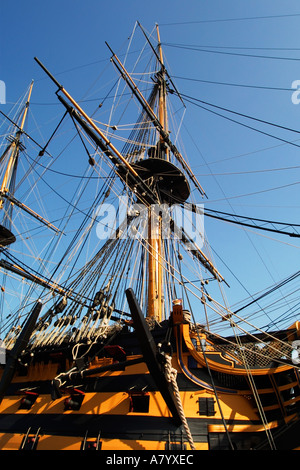 HMS Victory, world's oldest naval ship and famous104 gun warship in Historic Portsmouth Dockyard. Took part in Battle - Stock Photo