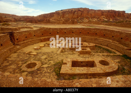 New Mexico: Chaco Canyon, Anasazi ruin 'Chetro Ketl,' October - Stock Photo