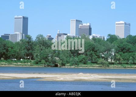 North America, USA, Oklahoma, Tulsa. Arkansas river near downtown. - Stock Photo