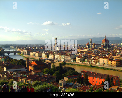 View over River Arno from Place Michaelangelo towards Florence and the Duomo late afternoon Florence Tuscany Italy - Stock Photo