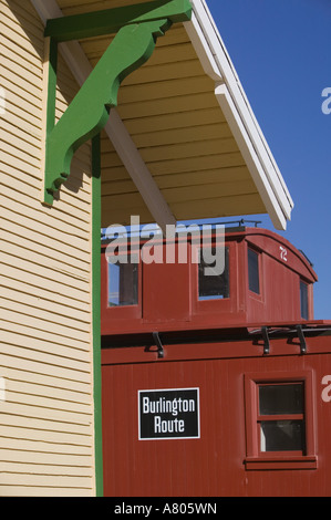 USA, TEXAS, Lubbock: National Ranching Heritage Center Old Train Station Detail - Stock Photo