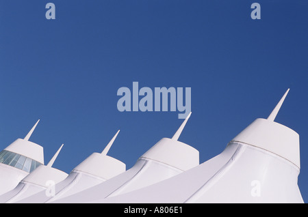 US USA · Denver Airport Roof Line With Blue Sky   Stock Photo