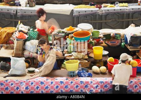 Women Working At Stall In Chorsu Indoor Bazaar - Stock Photo